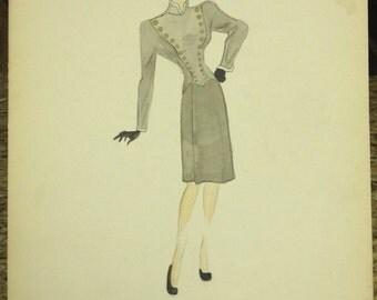 1940's Vintage Women Gray Dress Sketch