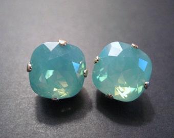 Pacific Opal Swarovski Studs/Opal Bridesmaid Jewelry/Square Crystal Studs/Opal Earrings/Swarovski Earrings/Green Opal Earrings/Cushion Set