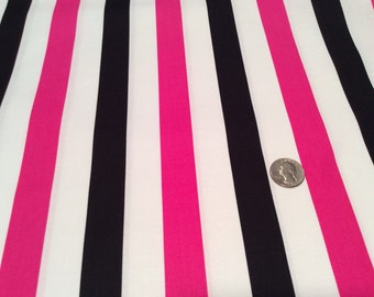 Ellen Medlock fabric Pink, Black and White STRIPE