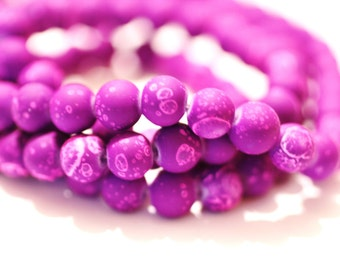 80pc Loose Beads-Purple Rubberized Bracelet beads/Necklace Beads/8mm