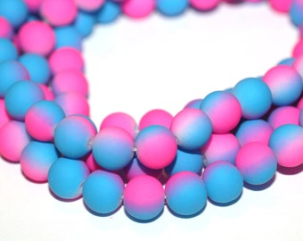 40pc Loose Beads Magenta and Blue-Basketball wives inspired Rubberized Bracelet beads-Necklace beads-8mm