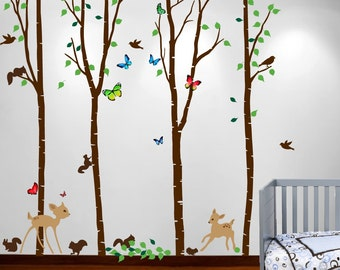 "Birch Tree Forest Set with Deer and Flying Birds, Bambi and Squirrels Butterflies Baby Giant Wall Sticker Decals #1221 72"" (6 feet)"