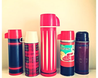 SALE Vintage thermos collection / vintage red plaid thermos / tall striped thermos / Vintage thermos / red striped thermos / gift for him