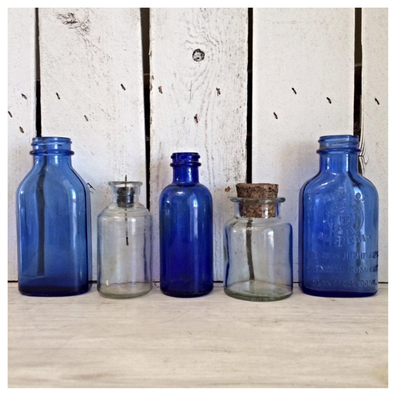 SALE Vintage Cobalt Glass Bottles / Vintage Glass By MellaFina