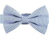 Seersucker Navy Bow Tie Dog Collar, Dog Collar Bow Tie, Tie Dog Collar, Bow Tie Dog Collar: classic Navy Seersucker