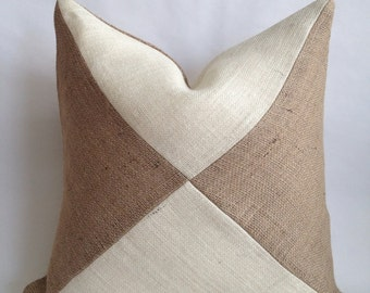 Triangle Two Tone Burlap Pillow Cover