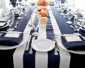 Navy and White,1 DAY FREESHIP, Navy, Striped Tablerunner, Nautical, Beach wedding, bridal shower, Baby Shower, baby boy, country club,