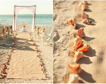 Burlap Wedding Aisle Runner.  No Trim. 20 Feet long.