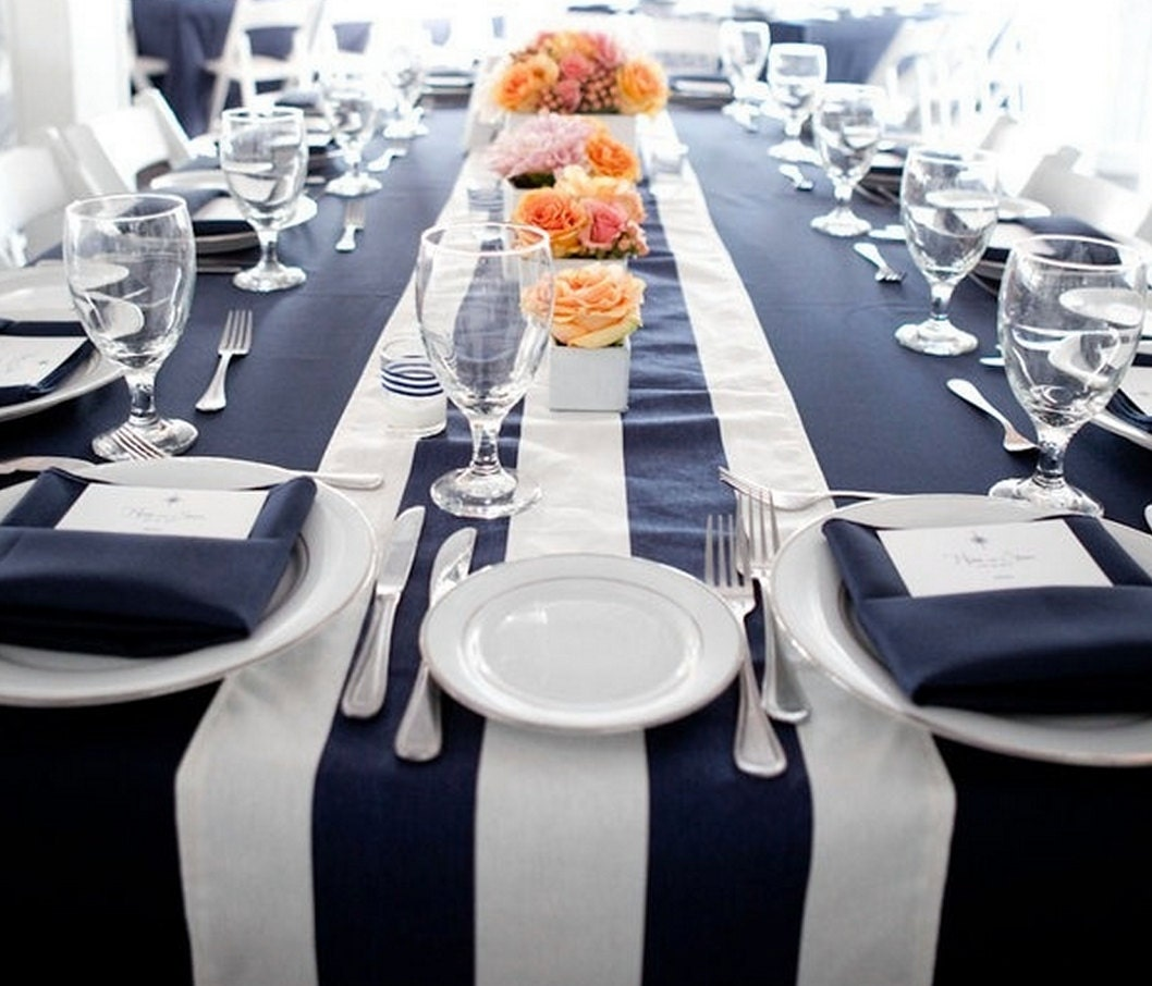 Striped Navy Blue And White Nautical Table Runnersbeach By