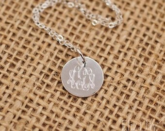 """very small 1/2"""" engraved monogram necklace .925 sterling silver"""