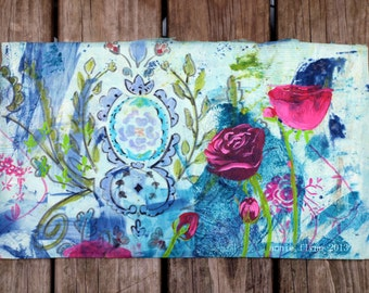 Roses on Damask in Aqua