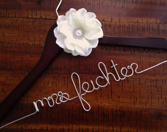 Wedding Dress Hanger, Bride Hanger, Bridal Engagement Gift, Wedding Hanger, Future Last Name, Mrs Coat Hanger, Bridesmaid Hangers, Gifts