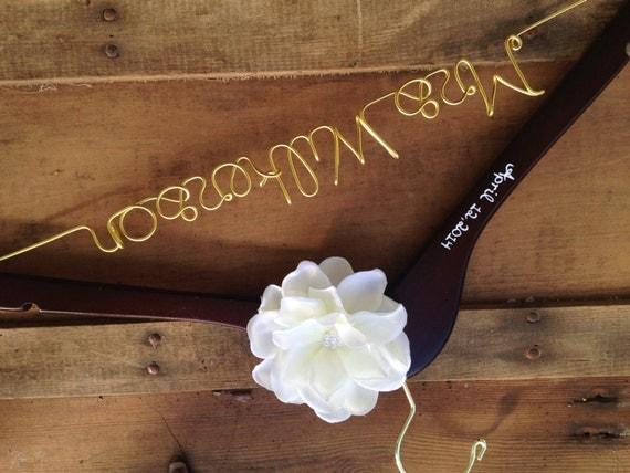 Custom Wedding Dress Hanger, Gold Personalized Hanger with Date, Bride Hanger, Custom Hanger, Wedding Hanger, Mrs Hanger