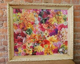 Framed Precision-Cut Decoupaged Flower Garden Collage