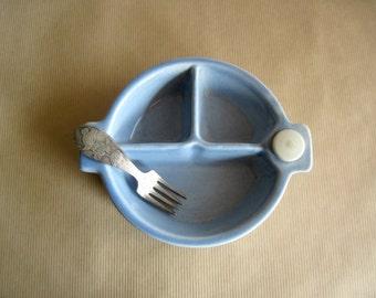 Divided Baby Feeding Dish, Hankscraft Baby Bowl, Blue Divided Bowl, Heated Baby Bowl, Ceramic Dish, Compartment Dish, Baby Shower Gift