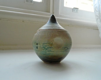 Organic Unusual Handmade Ceramic Sugar Bowl or Condiment Jar