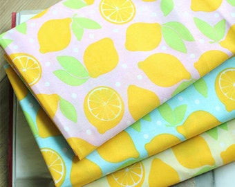 Cotton Blend Fresh Lemons - Pink, Blue or Yellow - By the Yard 36684