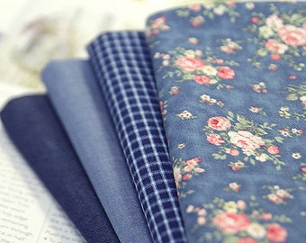 Blue Cotton Fabric - Choose From 4 Patterns - By the Yard 50797