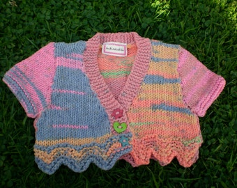 SALE sweet little baby girls hand knitted colourful crop cardigan 0-3 months