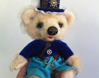 Jointed Mohair Teddy Bear. Artist Teddy Bears. Handmade OOAK. Steampunk Bear Blondie