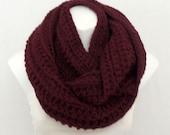 Chunky Burgundy Crochet Infinity Scarf, Loop Scarf, Knit Scarf, Unisex