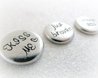 Set of 3 Small Personalized Pocket Stones - Word Stone - Pocket Pebbles Hand Stamped by Everything Pretty