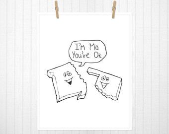 I'm MO.  You're OK. State Print, Missouri, Oklahoma, Missouri Art, Oklahoma Art, Missouri Print, Oklahoma Print, State Sign - 8x10