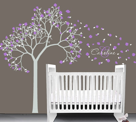 Items similar to baby nursery vinyl decal tree wall - Stickers geant chambre fille ...