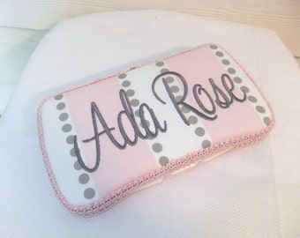 Custom Gray / Pink Stipes and Dots Diaper Wipes Case