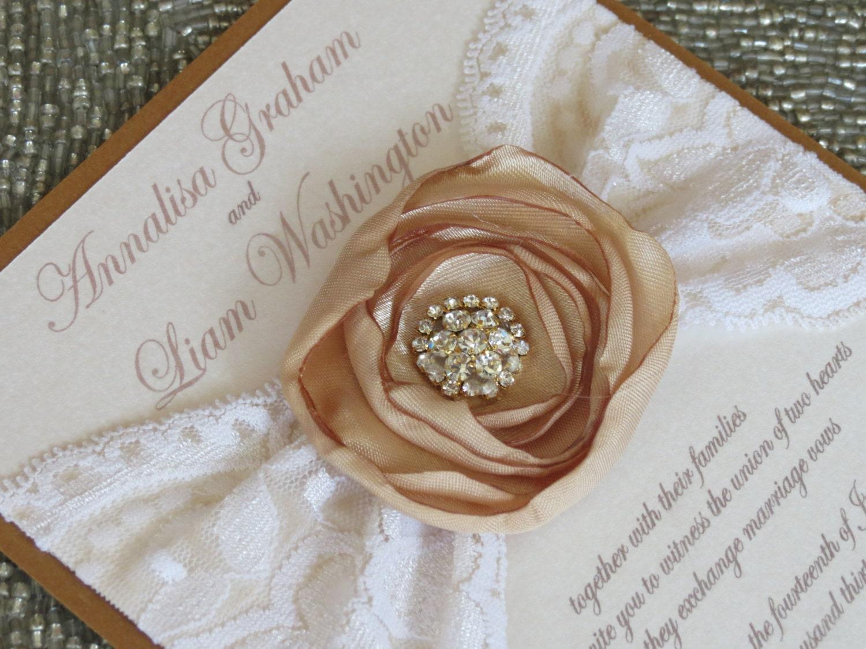 Ivory Wedding Invitations: ANNALISA: Ivory And Gold Vintage Lace Wedding Invitation