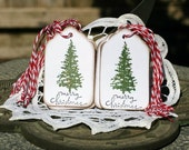 Christmas Gift Tags - Set of 12 Christmas Tree Merry Christmas Hang Tags
