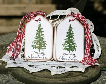 Christmas Gift Tags - Set of 12 Christmas Tree Merry Christmas Hang Tags