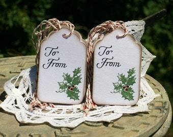 Christmas Gift Tags - Set of 12 Holiday Holly  Tags