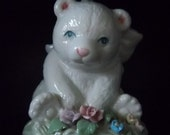 Sweet Bear Cub Music Box Fine Porcelain Heritage House