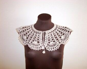 Gray lace crochet big dress collar Handmade detachable Peter Pan collar Bohemian Crochet necklace fashion Festival wedding accessories