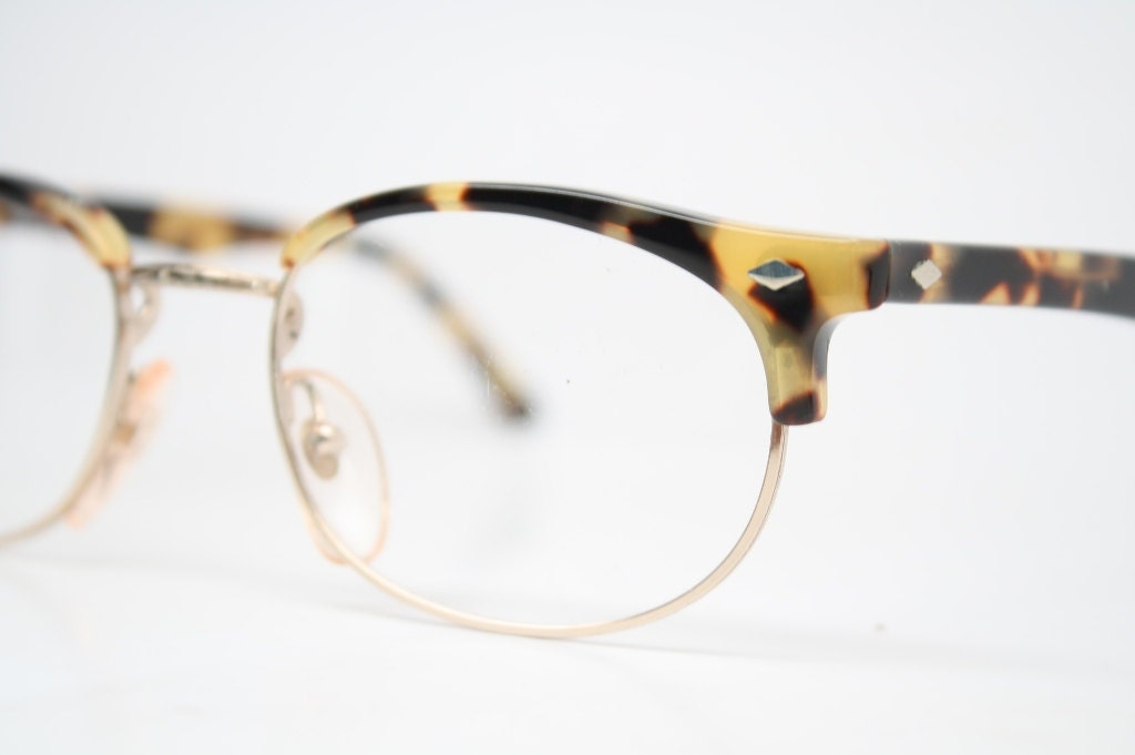 vintage glasses frames combination browline malcolm x gold