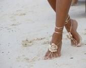 Champagne flower Barefoot sandals, bangle, wedding anklet, Beach wedding barefoot sandals