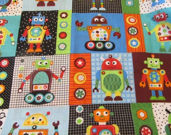 Gear Head Robot fabric - Boys theme - Craft project - Sewing project - Boy's room decor