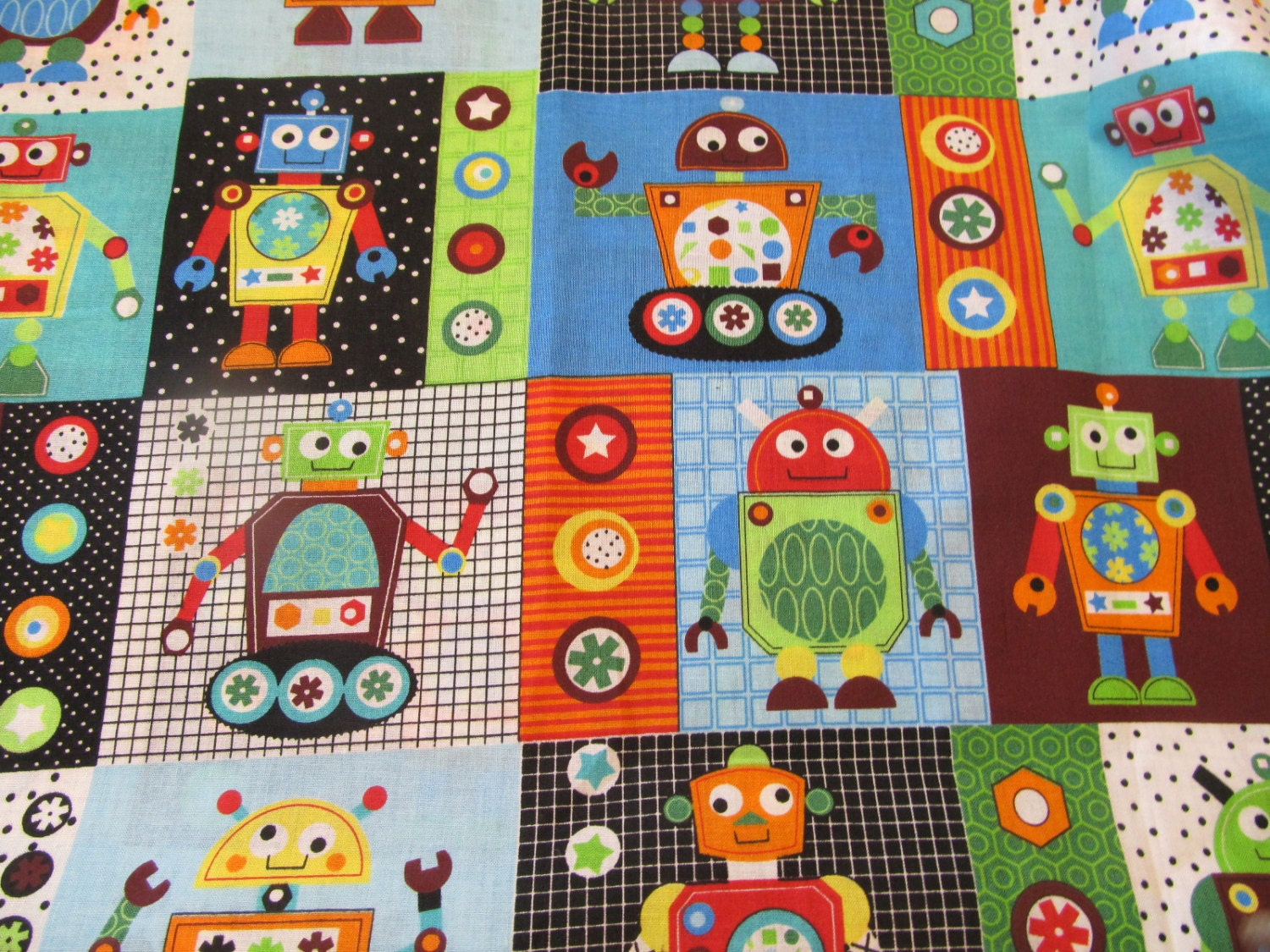 Gear head robot fabric boys theme craft project for Fabric for boys room