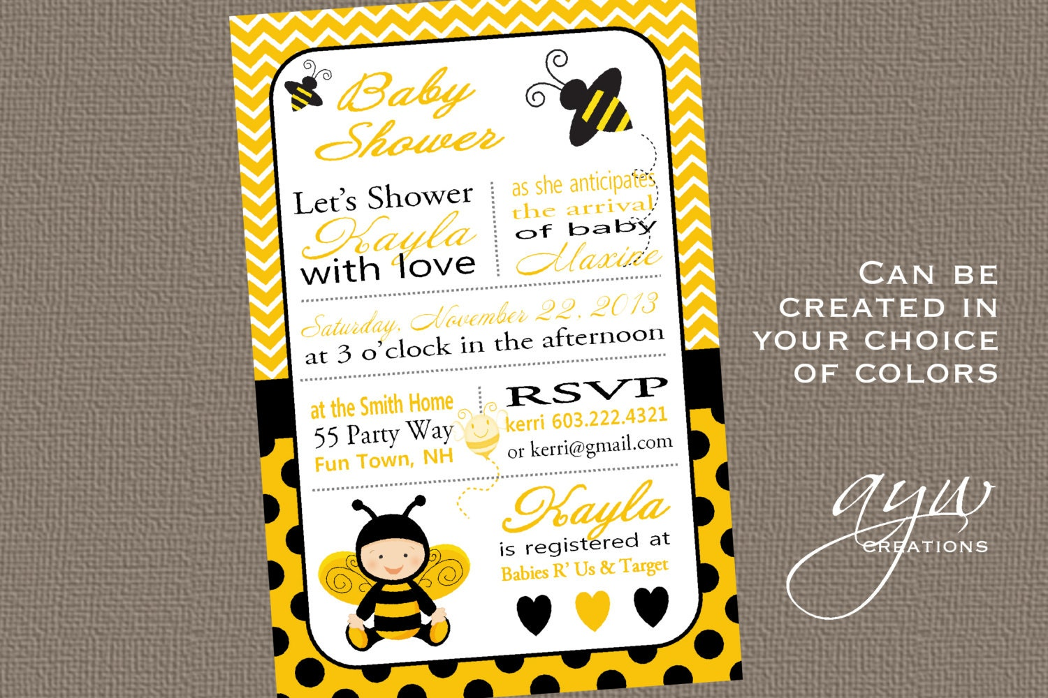 bee baby shower invitation bee bumble bee by asyouwishcreations4u