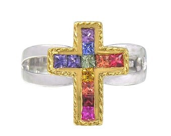 Multicolor Rainbow Sapphire Crucifix Rings 18K GP and 925 Sterling Silver  : sku 1188-925