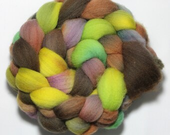 Handpainted Roving - Enchanted Forest - Falkland Wool, 4 ounces
