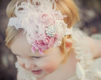 Pink baby headband deluxe! Vintage Baby Pink Handrolled Rosette Headband with LACE, Curly ostrich feathers, veiling, pearls and crystal det
