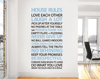 House rules Vinyl Wall Sticker Housewares Home Wall Decal | 60 x 115cm / 24 x  45 inches