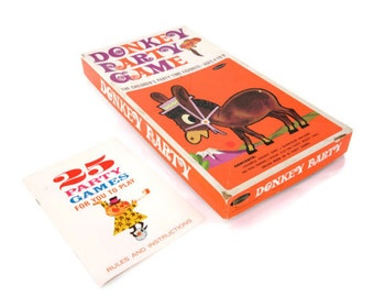 Vintage Pin the Tail on the Donkey Party Game and Party Game Book 1967 by Whitman