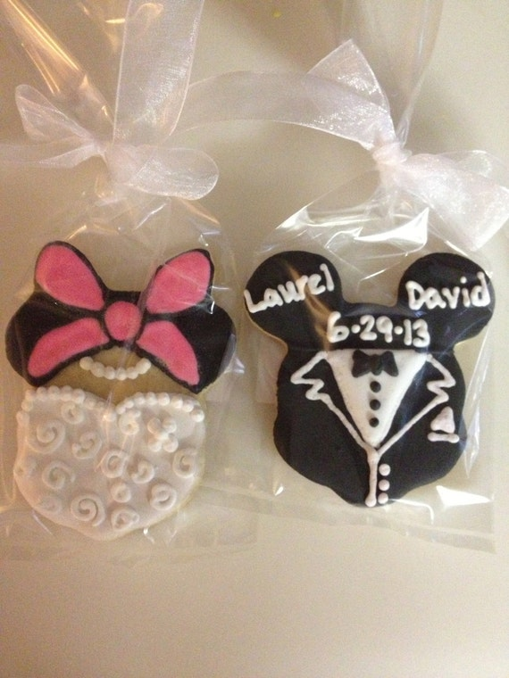 mickey and minnie mouse wedding cookie favors by