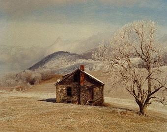 Frosty Rock House 2 -- Fine Art  Photography Print -- Photo, Home Decor, Landscape, Winter, Frosty, Art