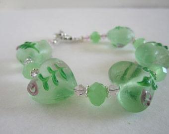 Green Heart Bracelet Valentine's Bracelet Heart Bracelet pink flower heart