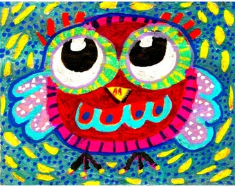 Owl Art, Whimsical Owl Print, Whimsical Art, Nursery Room Decor, Art For Kids, Funny Animal Art, Ollie Owl by Paula DiLeo