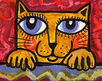 Cat Art, Yellow Cat Print, Funny Cat Painting, Children's Room Decor, Cat Portrait, Whimsical Cat Art, Peek A Boo Cat by Paula DiLeo_223099